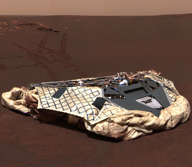 The Challenger Memorial Station at Meridiani Planum on Mars