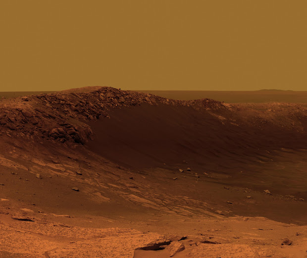 Mars Exploration Rover Opportunity is studying Santa Maria crater