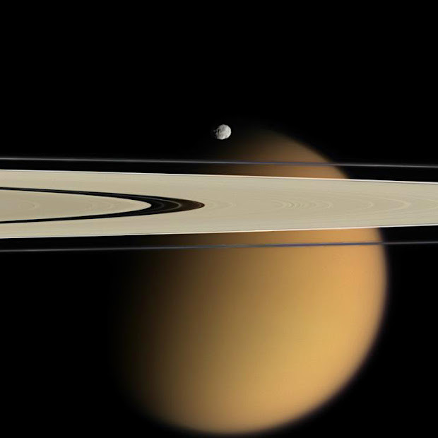 Smog-enshrouded Titan, Epimetheus and Saturn's A and F rings!