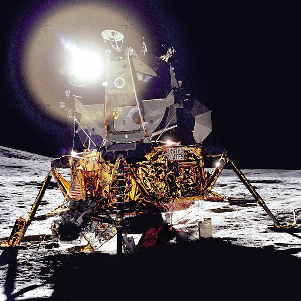 The Apollo 14 Lunar Module on the Moon's Fra Mauro Highlands