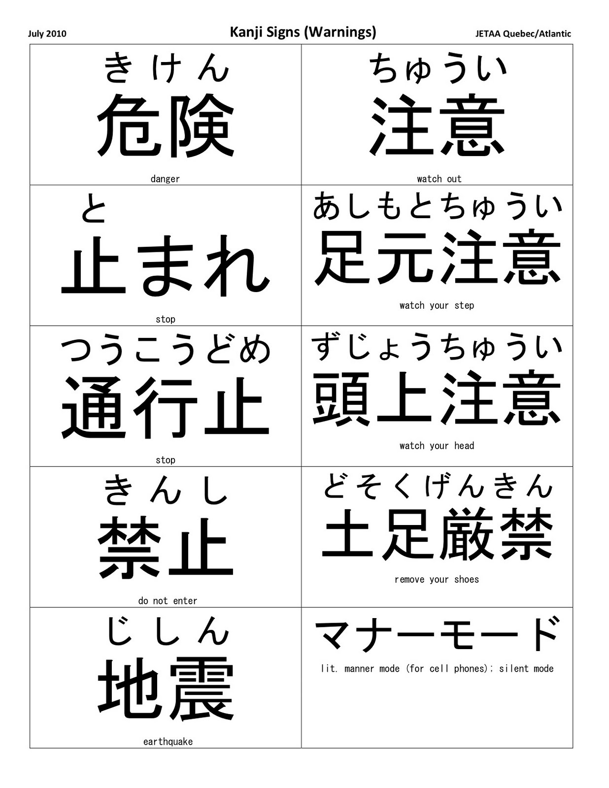 Japanese Kanji Symbols And Meanings List