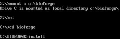 Bioforge DOS install command