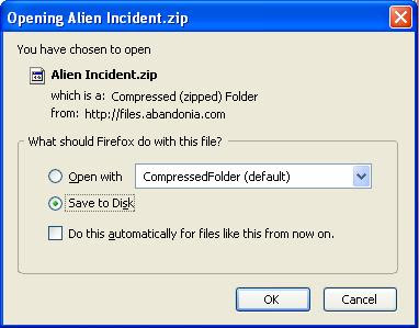Saving Alien Incident zip file