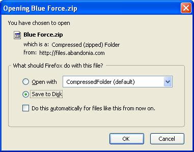 Saving Blue Force zip file