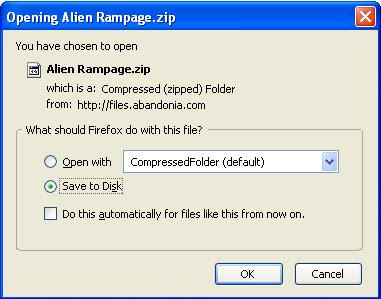 Saving Alien Rampage zip file