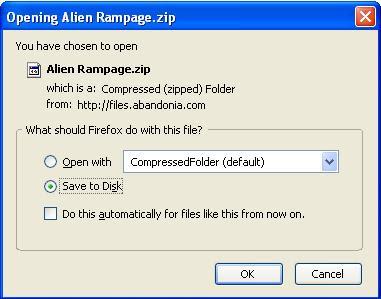 Saving Alien Rampage zip file