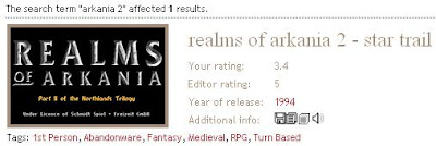Realms of Arkania 2 game results