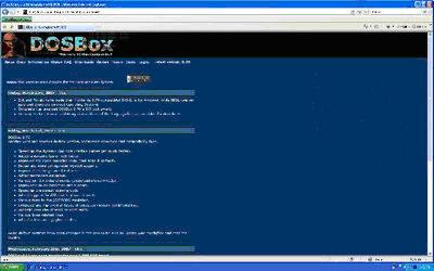 Dosbox homepage screen