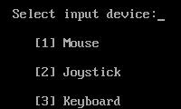 Selecting the games input device