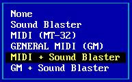 Choosing the Midi Sound Blaster option