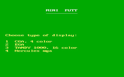 Mini Putt Screen selection