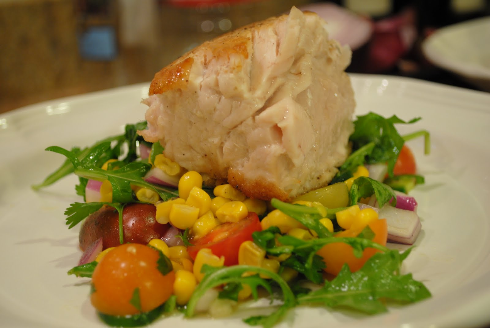 End of summer pan seared opah with corn tomato summer for Opah fish recipes