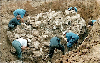 Mass grave filled with Bosniak civilians. Thousands of Bosniaks were murdered by Bosnian Serb Army in a genocide in and around Srebrenica in July 1995.