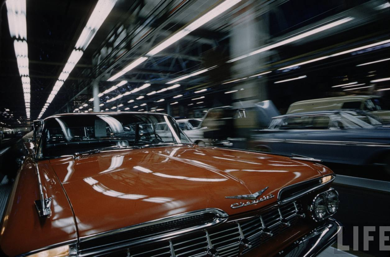 Nostalgia on wheels 39 59 chevy impala on the assembly line for Motor city assembly line