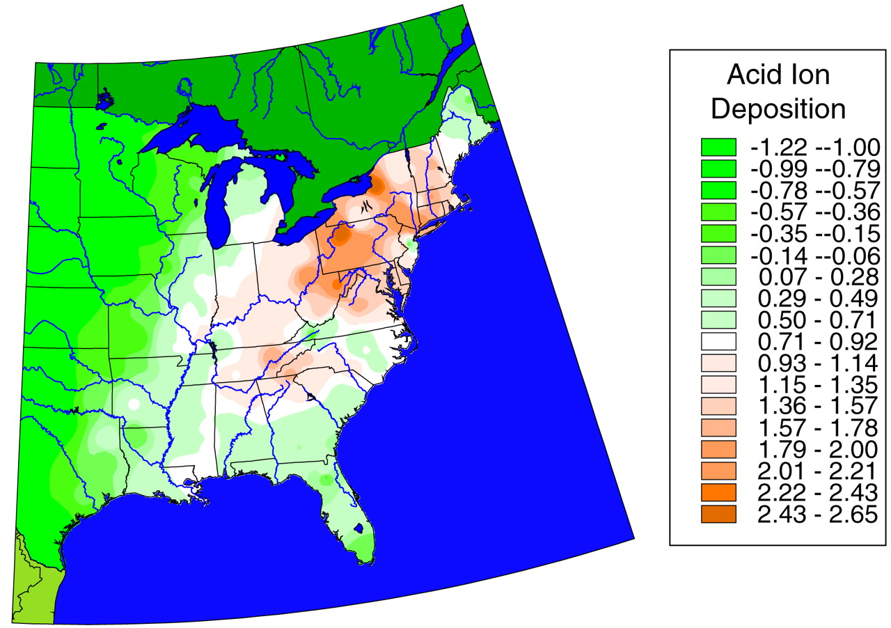 this chart of acid rain deposition on the east coast of the united states it seems that the state of washington has the most deposition on acid rain on the