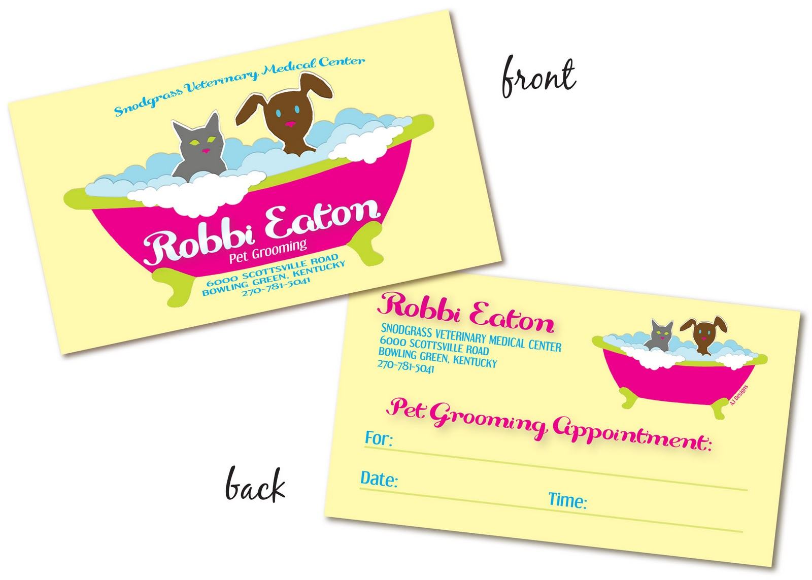 Aj robbis pet grooming business cards robbis pet grooming business cards anyone need dog or cat grooming see my girl robbi robinson eaton at snodgrass in bowling green ky colourmoves