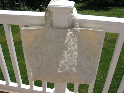 White Swirly Tote Bag side 1
