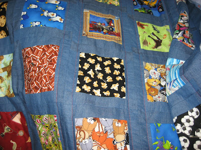 I Spy Quilt with denim