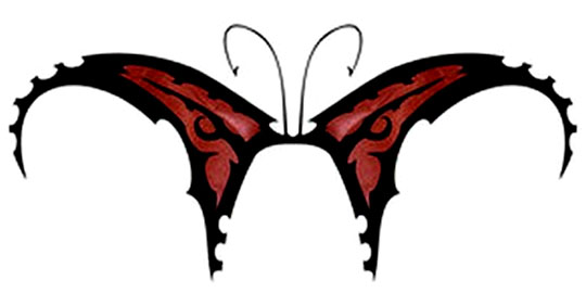 Whereas the tribal butterfly tattoo is usually done in plain black ink.
