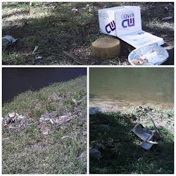 Materiais recicláveis ao lado do Rio Sorocaba