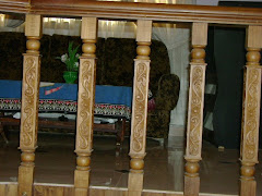 Carved Stair posts in Teak wood
