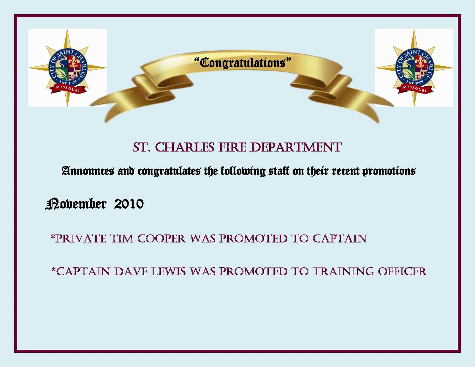 St Charles Fire Department Promotion Announcement – Staff Promotion Announcement Template