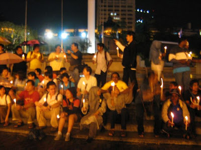candlelight vigil for those arrested for participating in the People's Freedom Walk, Kuala Lumpur, Malaysian