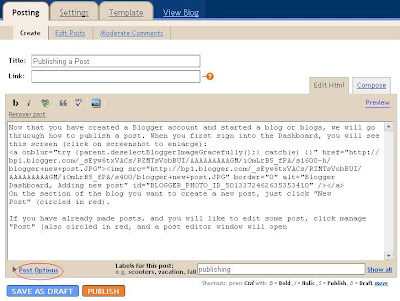 Blogger Post Editor Window