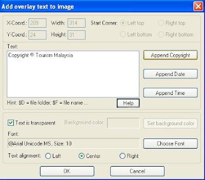 Irfanview insert copyright notice