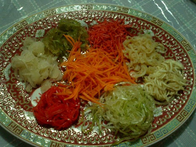 yee sang or raw fish dish