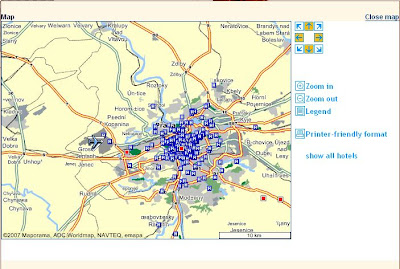 Prague City Hotels Map