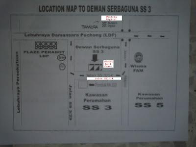 map to community hall, SS3, Petaling Jaya