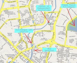Map to CIJ (Center of Independent Journalism) Jalan Sarikei off Jalan Pahang, Kuala Lumpur