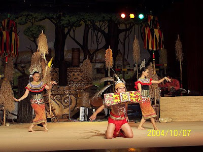 Borneo Sarawak native dance in native costume
