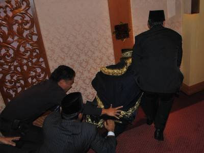 Perak Speaker Sivakumar being dragged out of the State Assembly chamber