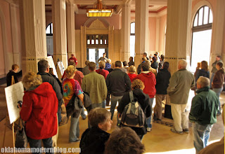 Architecture fans gather in the lobby of the ONG Building in downtown Tulsa.