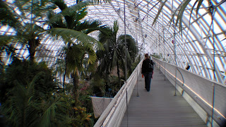 Jackie crosses the bridge that runs the length of the gardens.