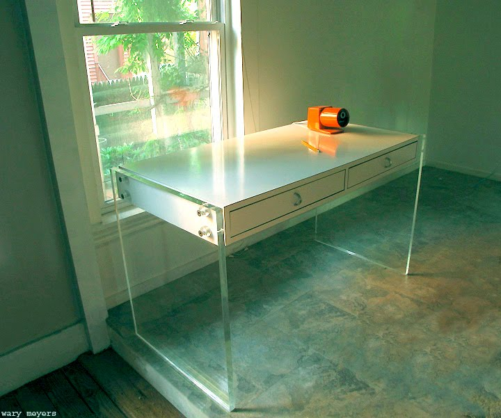 pieces burl products lucite desk wood