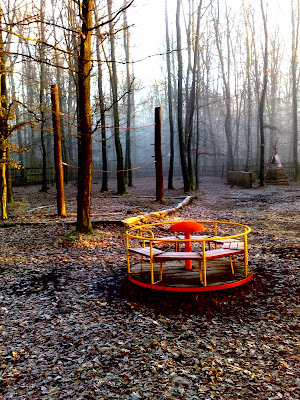 frost, merry-go-round, playground, sunlight