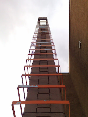 grey sky, ladder