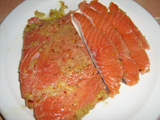 Gravlox ( pickled Salmon in vodka and lemon )