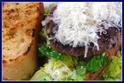 Caesar Salad and Flank Steak Burgers with Garlic Crostini for the ...