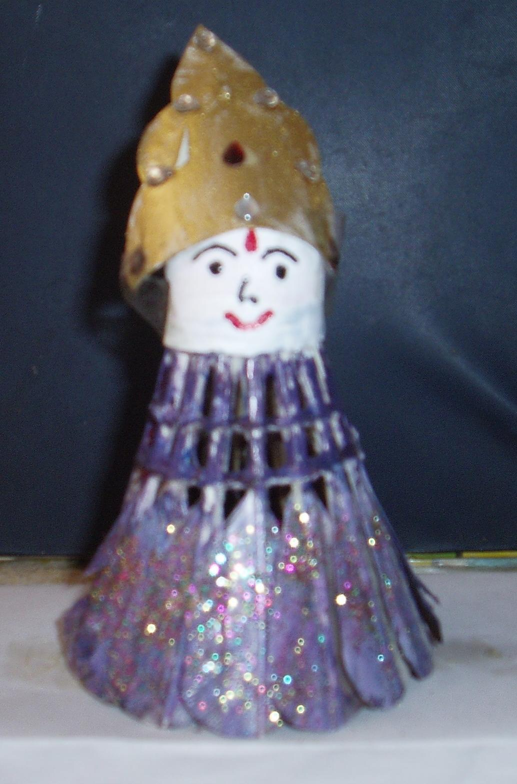 Easy crafts explore your creativity shuttle cock doll for Making hut with waste material
