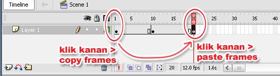 Klik kanan pada Frame 1 > Copy Frames, lalu klik kanan pada Frame ...