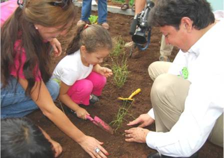 conciencia ecologica en los niños: niños plantando arboles.