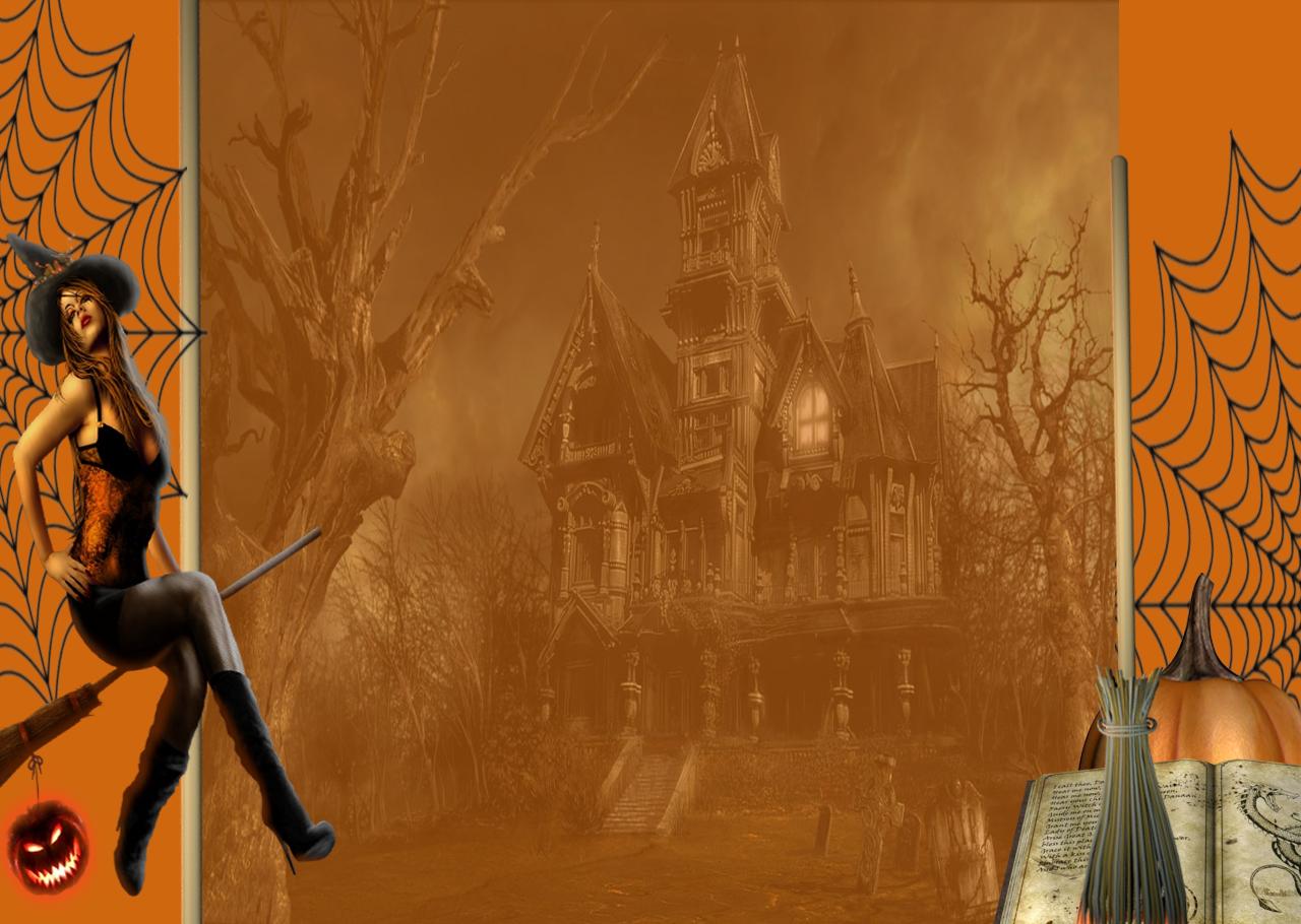 Halloween tarjeta con sexy bruja Stock Photo Images