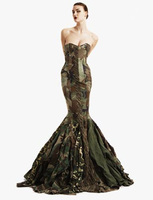 Fabulous camo gown by Gary Harvey made from recycled army jackets