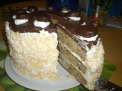 ... Banana cake with cream cheese filling, fluff icing and chocolate