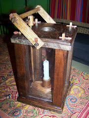Antiqued wood candle lantern