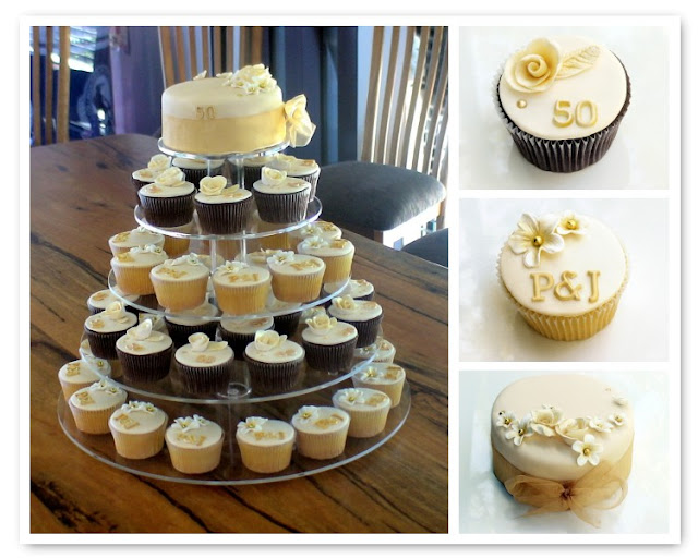Cupcake Decorating Ideas For 50th Birthday : Sugarbloom Cupcakes - Perth WA: 50th Golden Wedding ...